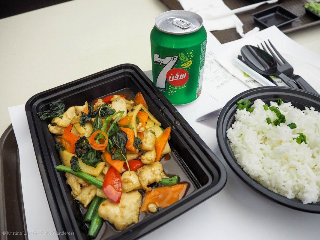 super-salty, not-that-authentic Thai basil chicken dinner at Dubai Mall's food court. This combo was AED 60