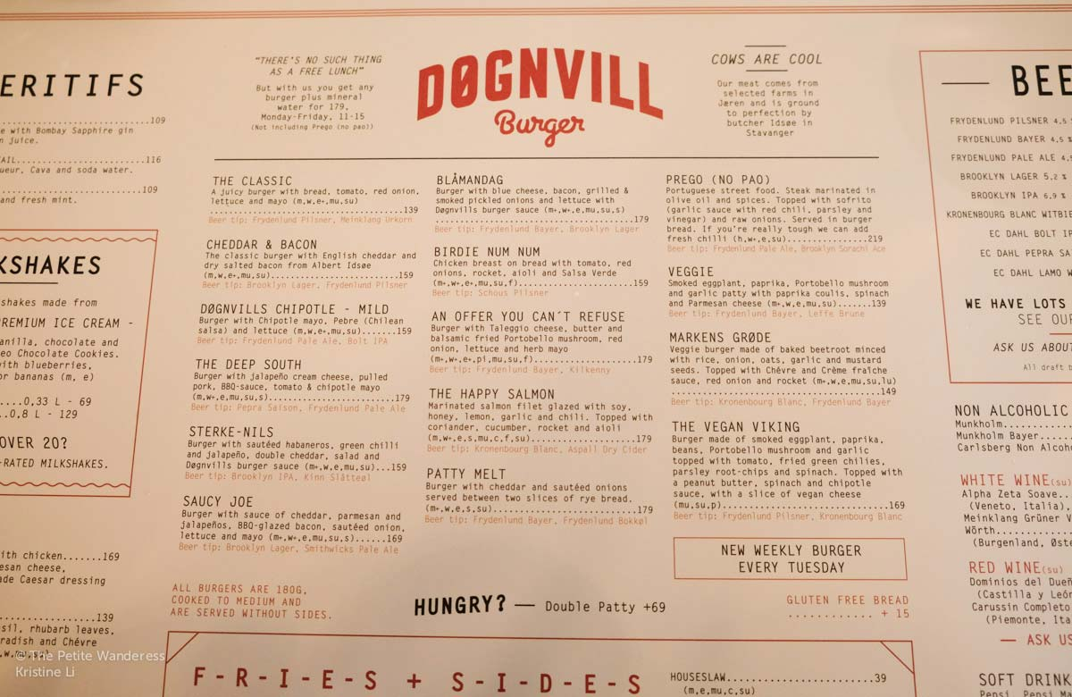 DonnVill menu Stavanger   How Much Does A Norway Trip Cost? • The Petite Wanderess