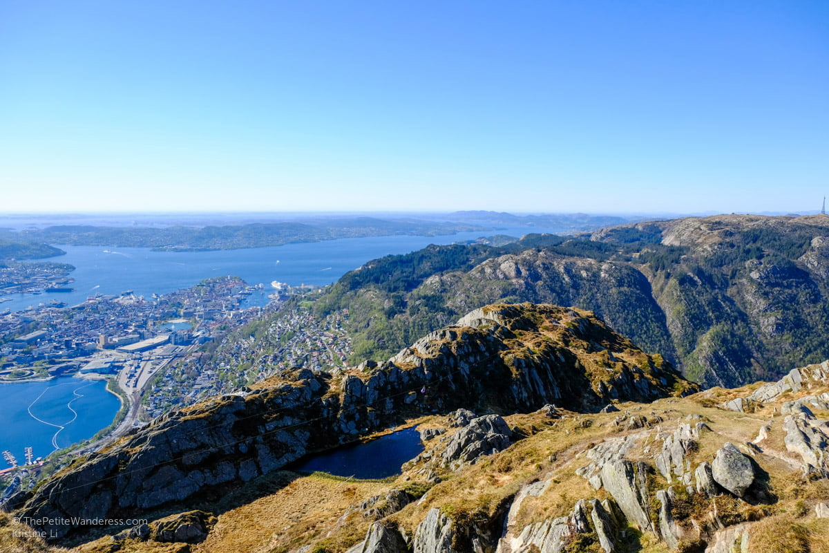 look at the centre of this photo and you'll see someone ziplining | Hiking Mt Ulriken in Bergen • The Petite Wanderess